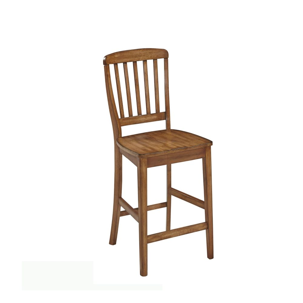 Home Styles The Vintner Solid Wood Oak Traditional Full Back Armless Bar Stool with Oak Solid Wood Seat