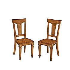 Chaise sans accoudoirs à dossier à traverses Americana, bois blanc, siège chêne massif, ens. de 2