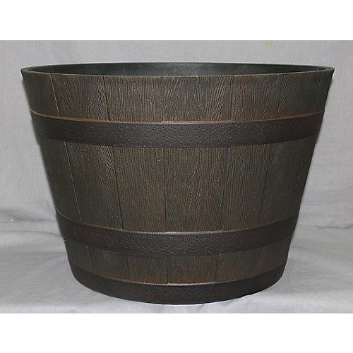 Pot à fleurs, style barril de whiskey, résine, 20 po, ton noyer du Kentucky