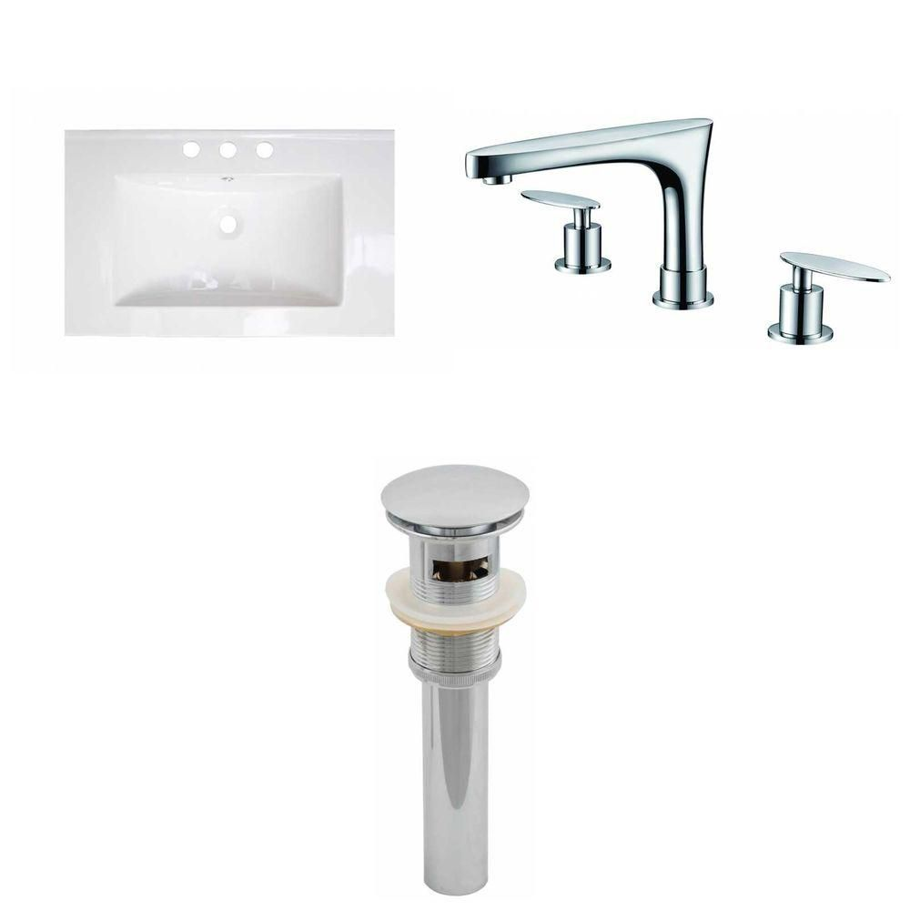 American Imaginations 24-inch W x 18-inch D Ceramic Top with 8-inch O.C. Faucet and Drain in White