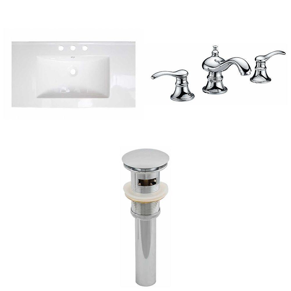 32-in. W x 18 po. D Céramique Top Set In White Couleur Avec 8-in. O.C. CUPC robinet et le drain