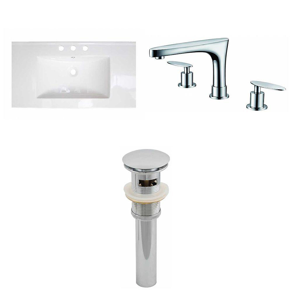32-inch W x 18-inch D Ceramic Top with 8-inch O.C. Faucet and Drain in White