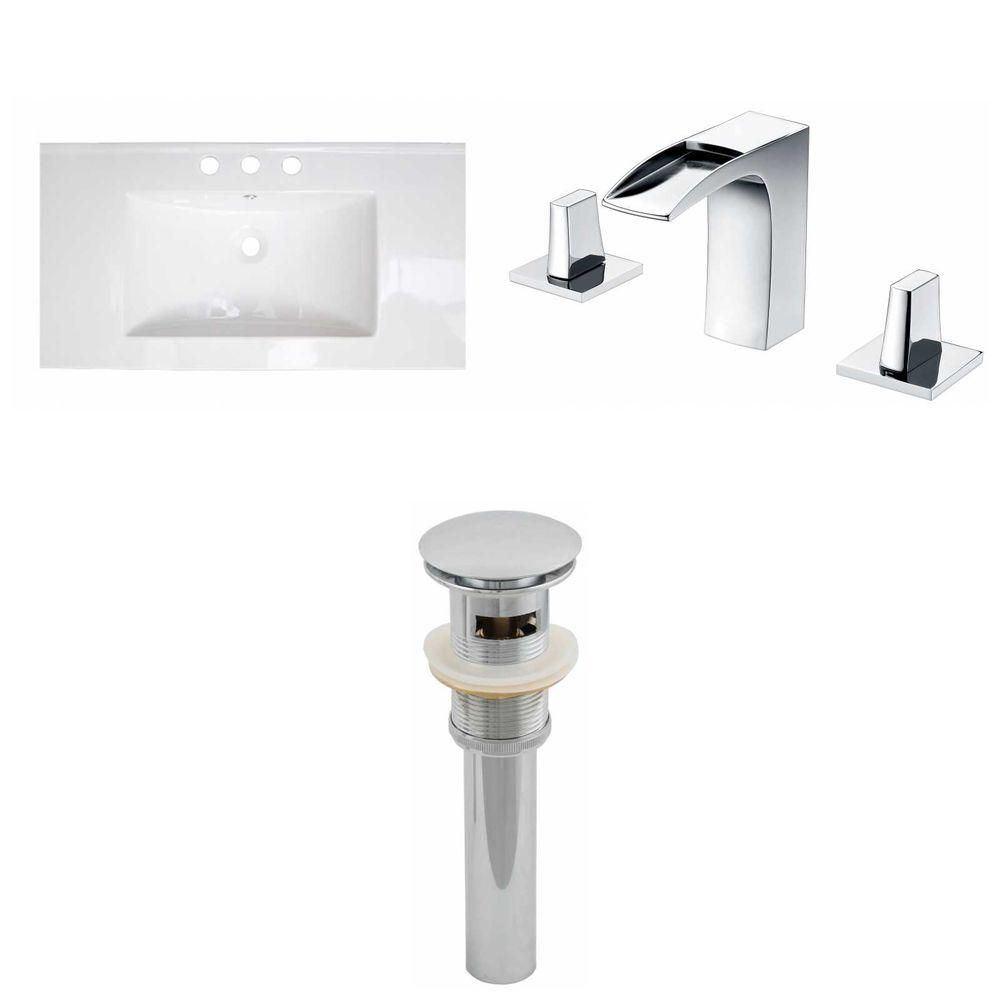 32- Inch W x 18- Inch D Ceramic Top Set In White Color With 8- Inch o.c. CUPC Faucet And Drain AI-16675 Canada Discount