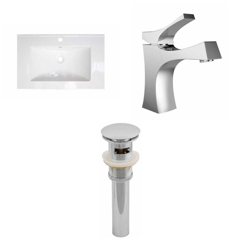 24-in. W x 18 po. D Céramique Top Set In White Couleur Avec Single Hole CUPC robinet et le drain