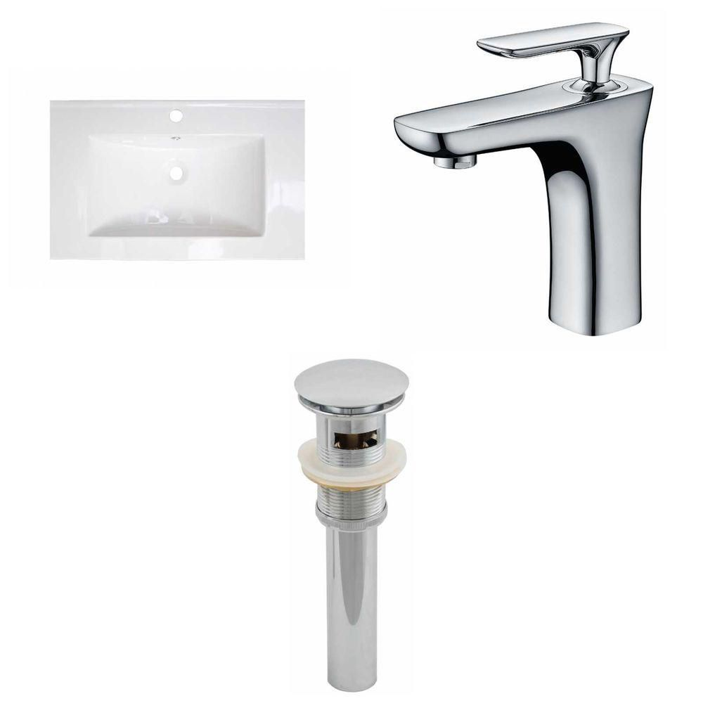 24-inch W x 18-inch D Ceramic Top with Single Hole Faucet and Drain in White