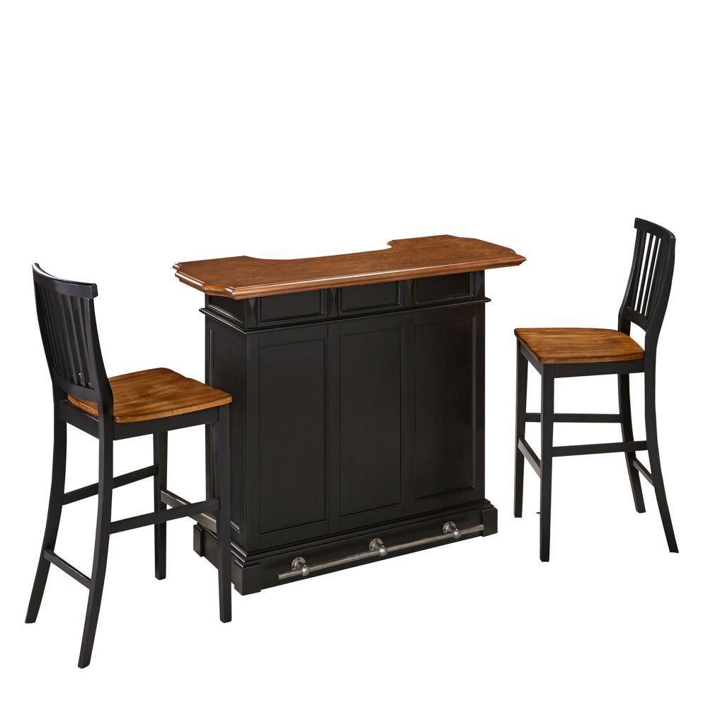 Home Styles Americana Black Bar and Two Stools