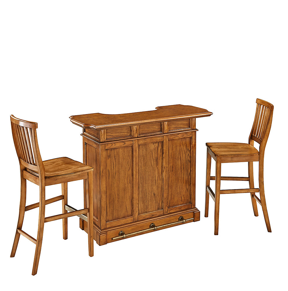 Home Styles Americana Cottage Oak Bar And Two Stools