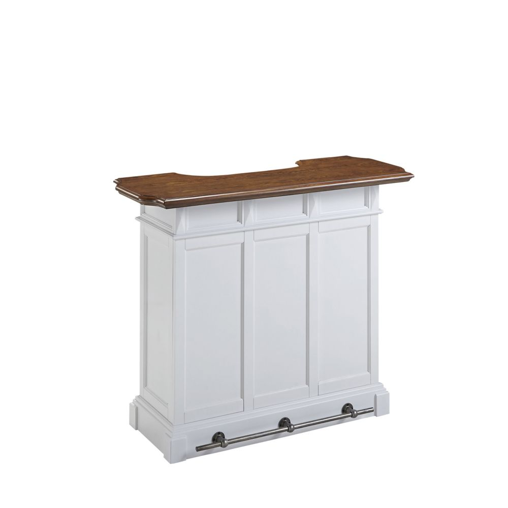 Home Styles Americana White Bar with Distressed Oak Top