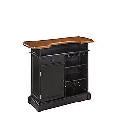 Home Styles Americana 4-Shelf Black and Oak Bar with Foot Rail