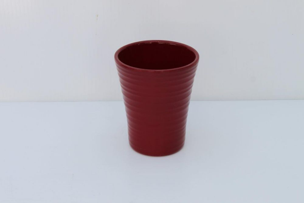 Ceramic Pot Red Gloss 4in