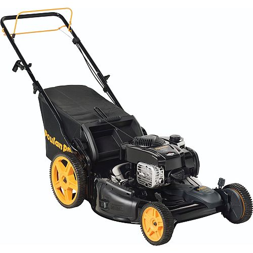 Poulan Pro 22-inch Briggs & Stratton Gas 3-in-1 Front Propelled Lawn Mower with High Wheels