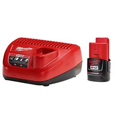 Milwaukee Tool M12 12-Volt Lithium-Ion Compact Battery Pack 2.0Ah and Charger Starter Kit