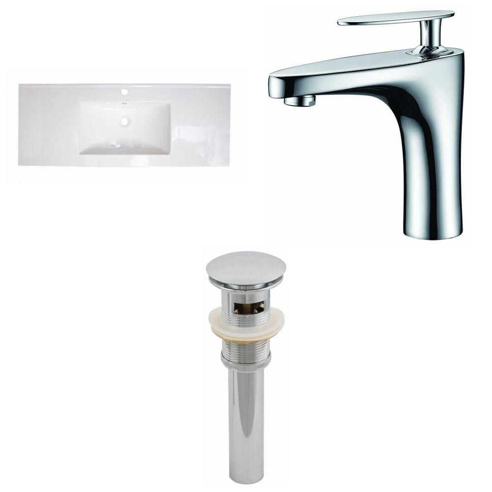 48-inch W x 18-inch D Ceramic Top Set with Single Hole Faucet and Drain in White