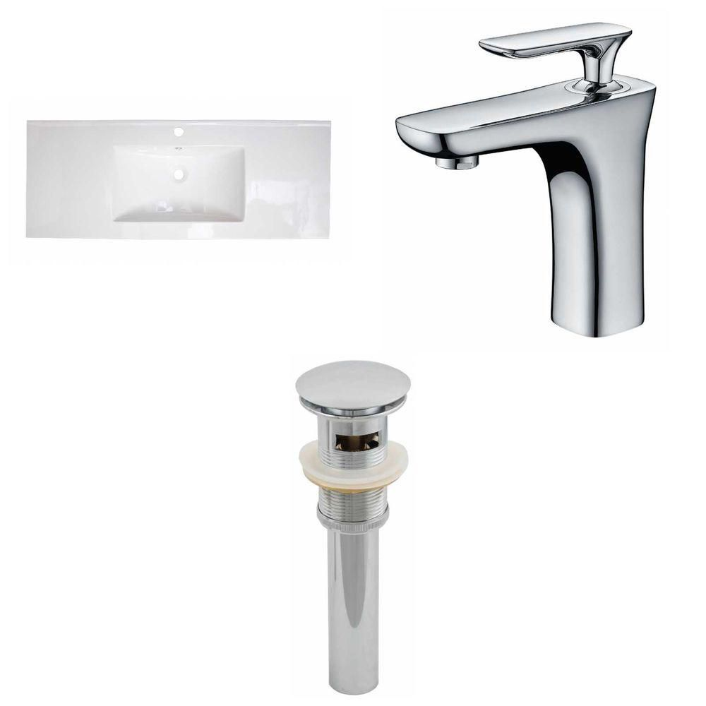 American Imaginations 48-inch W x 18-inch D Ceramic Top Set with Single Hole Faucet and Drain in White