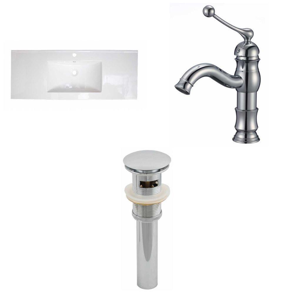 48-in. W x 18 po. D Céramique Top Set In White Couleur Avec Single Hole CUPC robinet et le drain