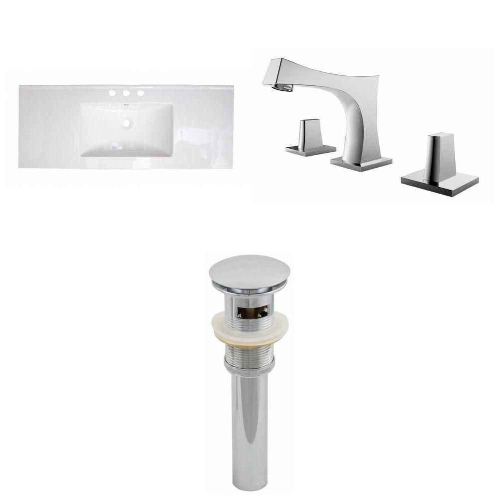 48-inch W x 18-inch D Ceramic Top Set with 8-inch O.C. Faucet and Drain in White