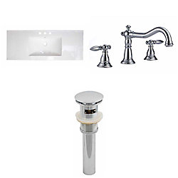 American Imaginations 48-inch W x 18-inch D Ceramic Top Set with 8-inch O.C. Faucet and Drain in White