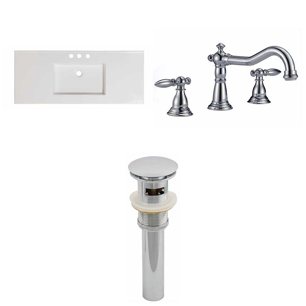 48-inch W x 20-inch D Ceramic Top Set with 8-inch O.C. Faucet and Drain in White