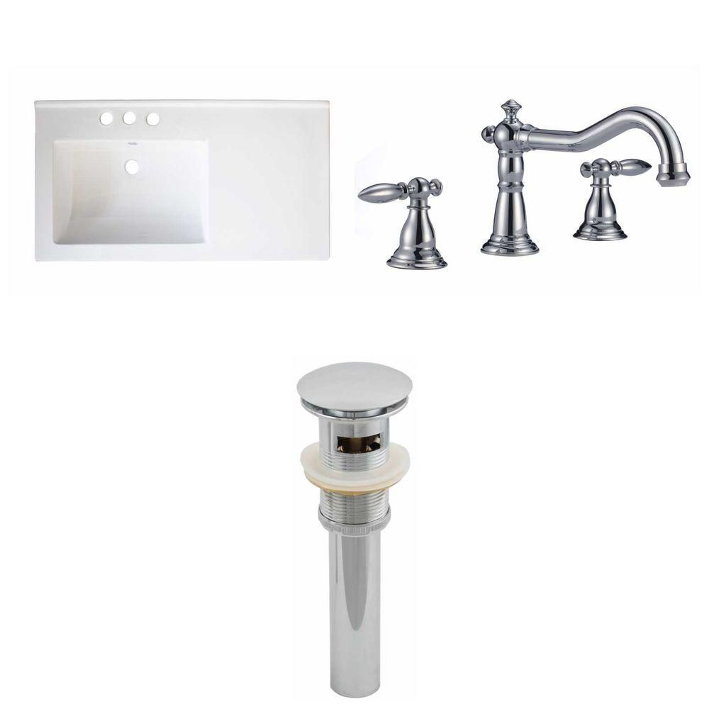 34- Inch W x 18- Inch D Ceramic Top Set In White Color With 8- Inch o.c. CUPC Faucet And Drain AI-16742 Canada Discount