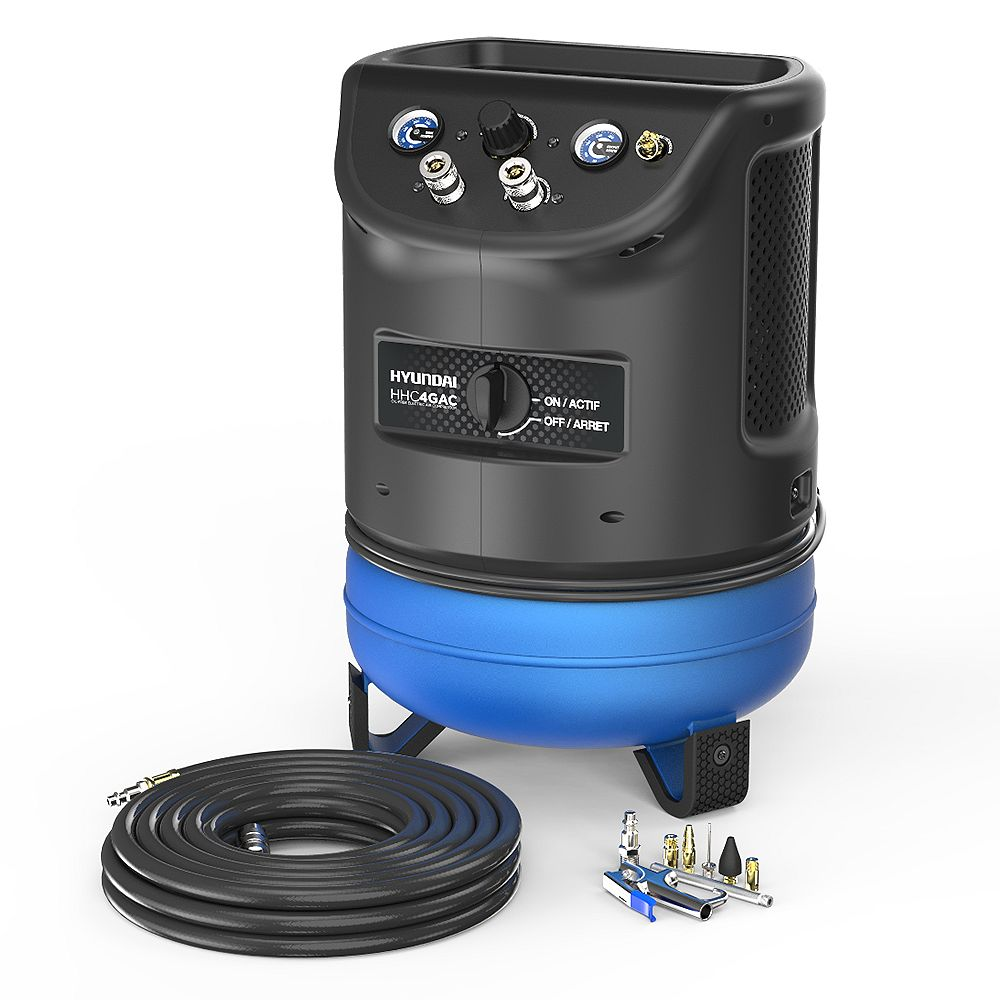 Hyundai 4 Gal. Portable Electric Air Compressor With Air Hose And Kit