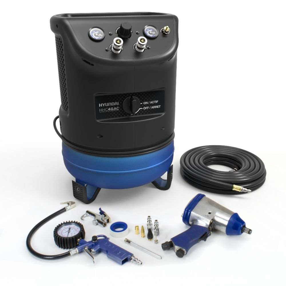 Hyundai 4 Gal. Portable Electric Air Compressor With 4-Tool Auto Kit
