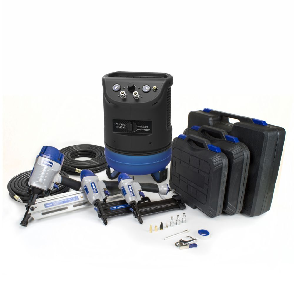 Hyundai 4 Gal. Portable Electric Air Compressor With 6-Tool Carpentry Kit