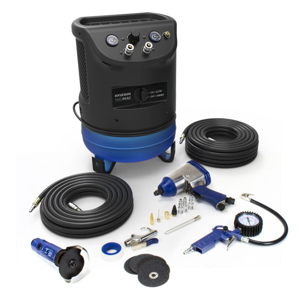 Hyundai 4 Gal. Portable Electric Air Compressor With 6-Tool Auto Kit