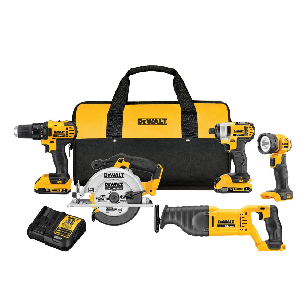 DEWALT 20V MAX Lithium-Ion Cordless Combo Kit (5-Tool) with (2) Batteries 2Ah, Charger and Contractor Bag