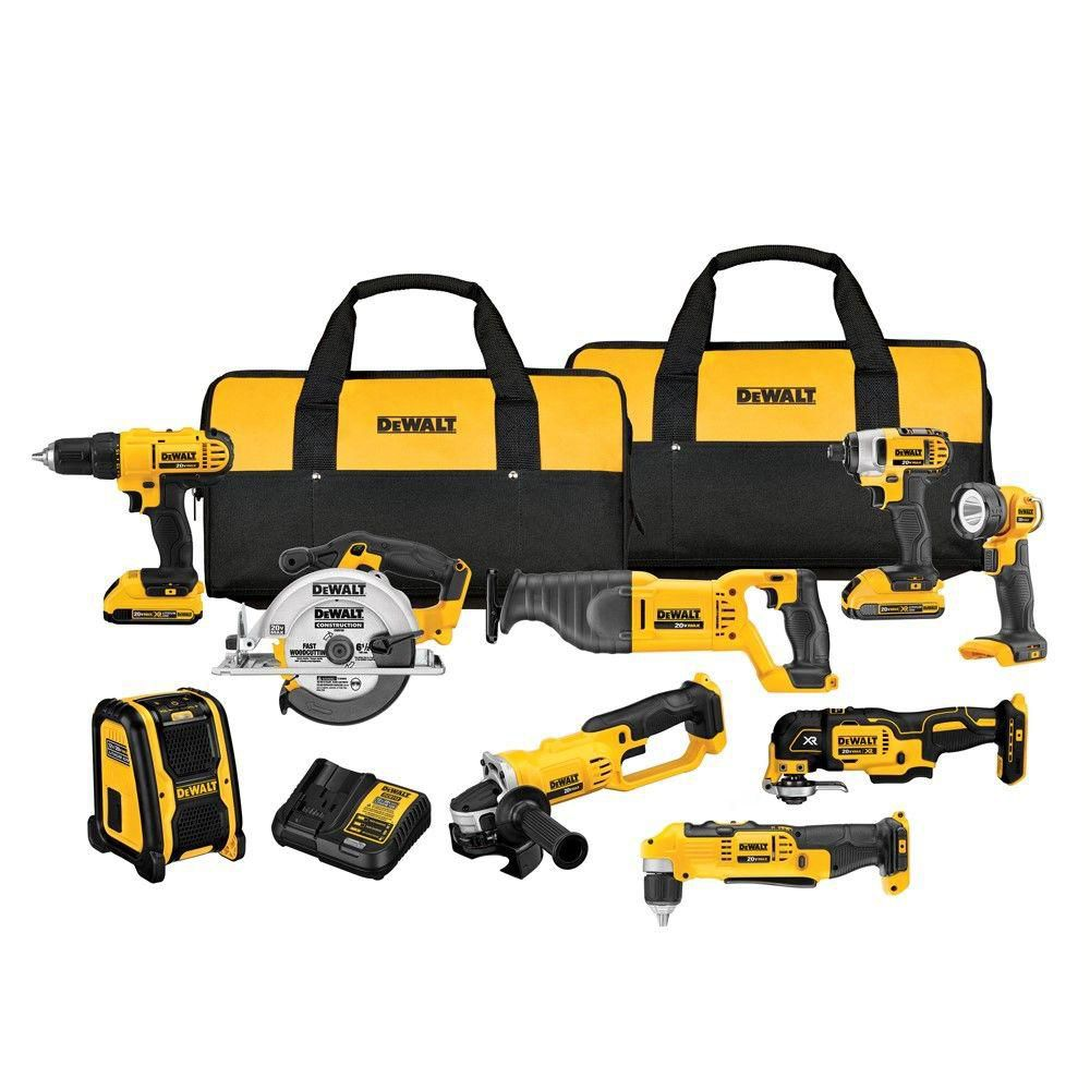 DEWALT 20V MAX Lithium-Ion Cordless Combo Kit (9-Tool) with 2 Batteries and Charger
