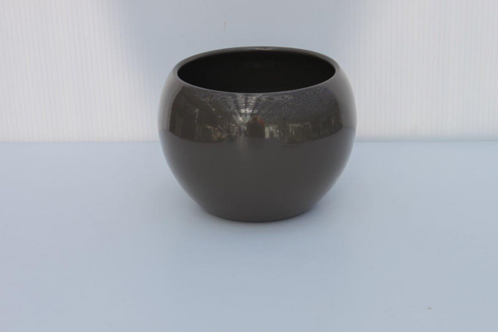 Ceramic Pot Quartz Grey Gloss 6.5in