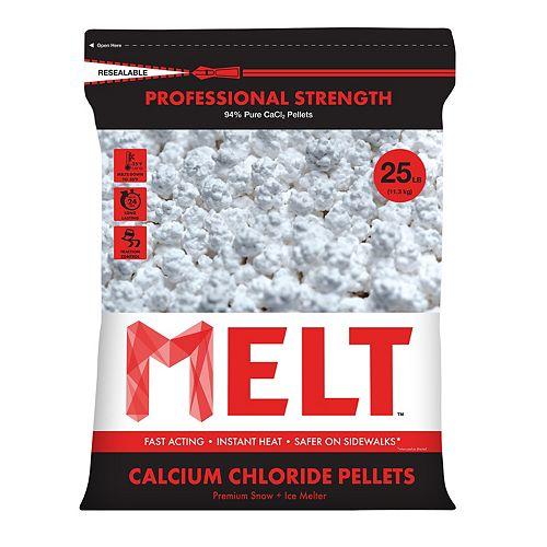 Snow Joe Produit de déglaçage en granulés de chlorure de calcium de qualité industrielle en sac refermable de 11,3 kg (25 lb)