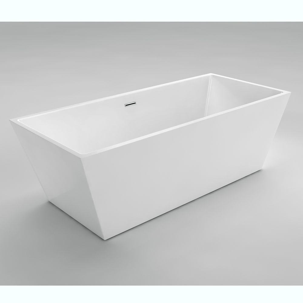 Nice II 5 Feet 7-Inch Acrylic Freestanding Non Whirlpool Bathtub in White