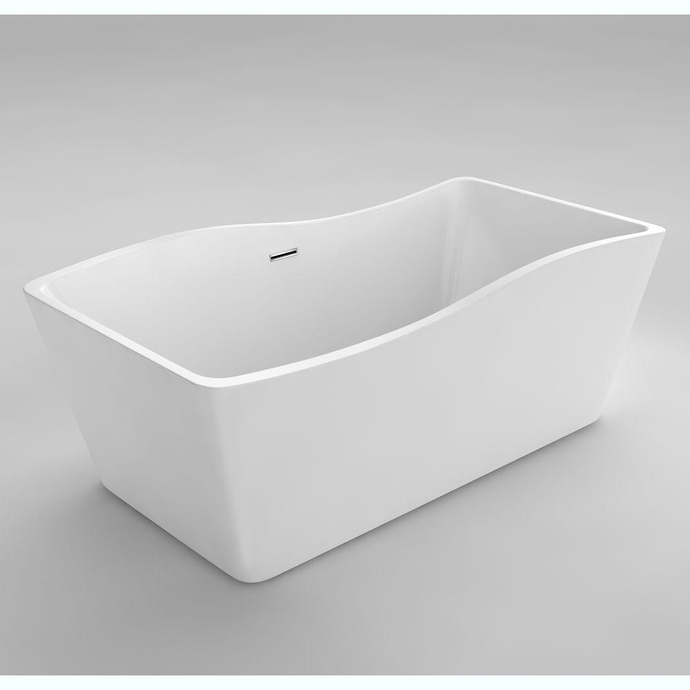 Simone II 5 Feet 6-Inch Acrylic Freestanding Non Whirlpool Bathtub