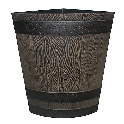 Jardinière  1/4  baril de whisky, fini noyer du Kentucky