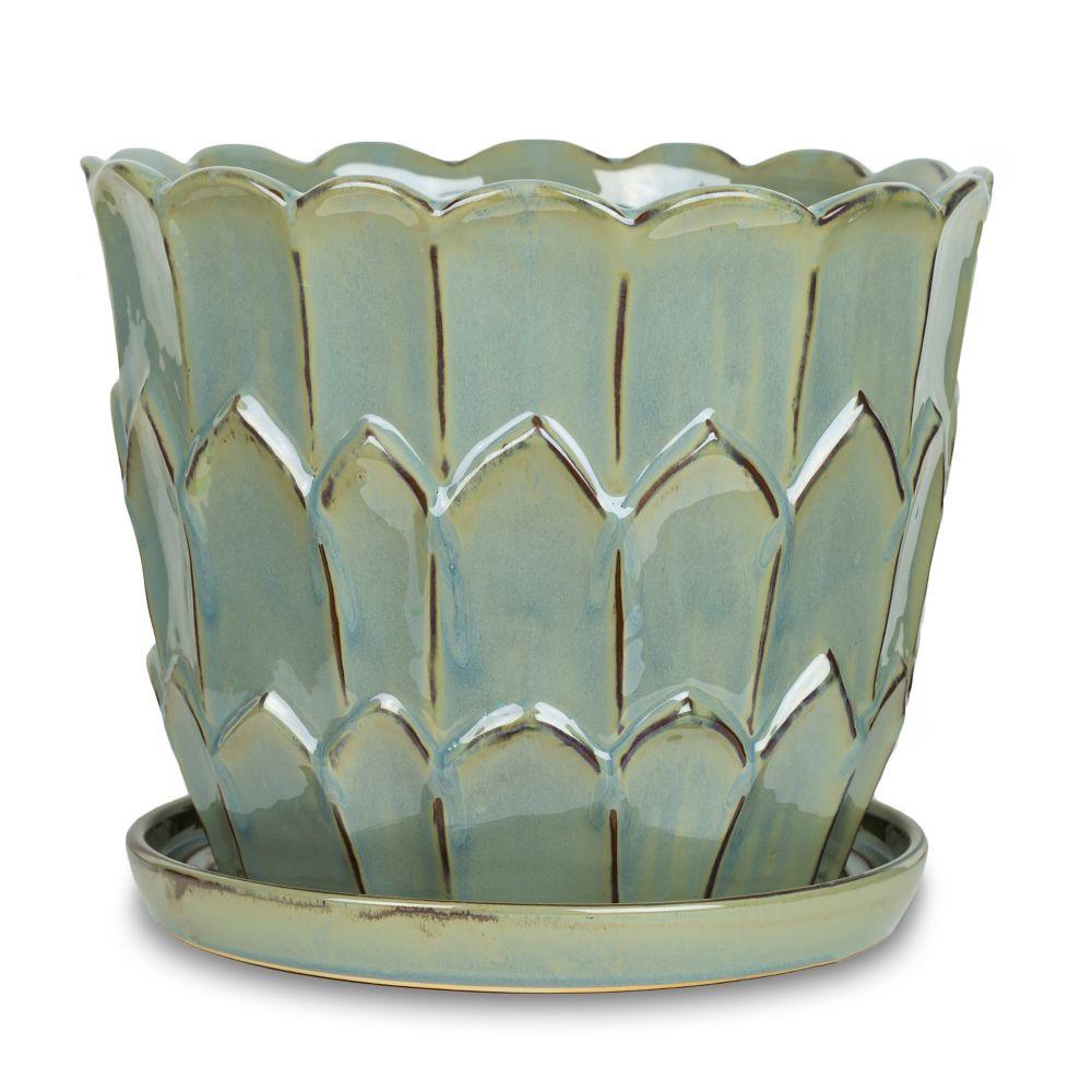 """12"""" vase, style artichaut, beige"""