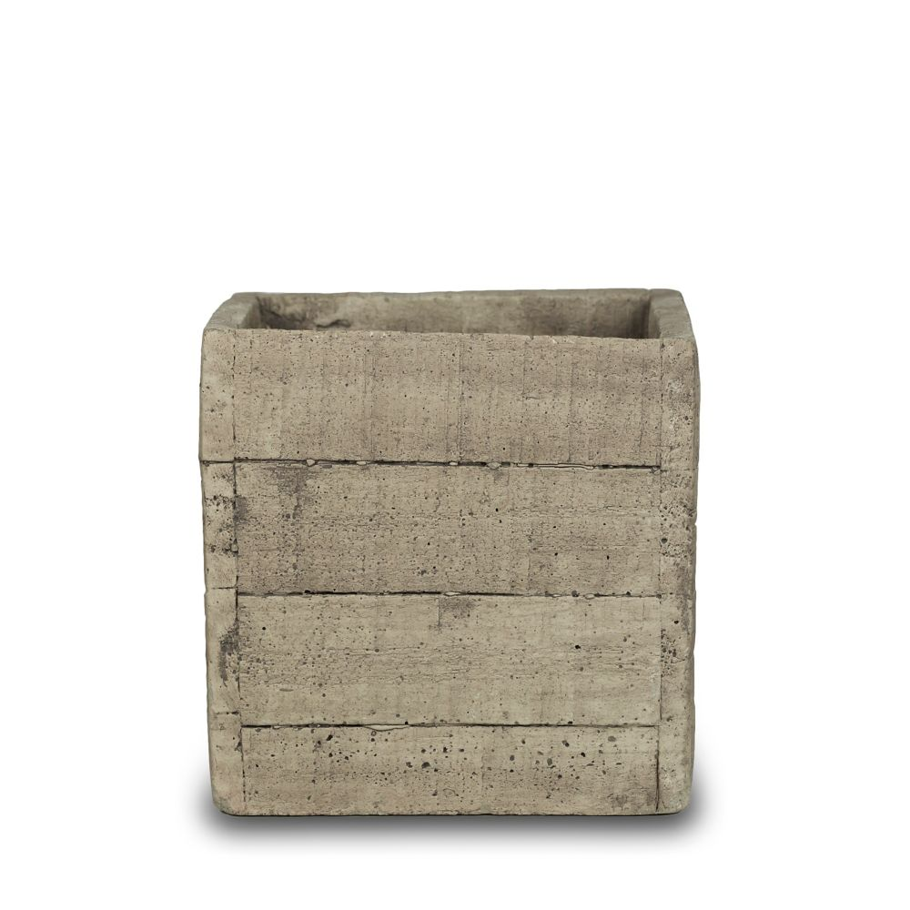 7 Inch Faux Wood Square, Cement