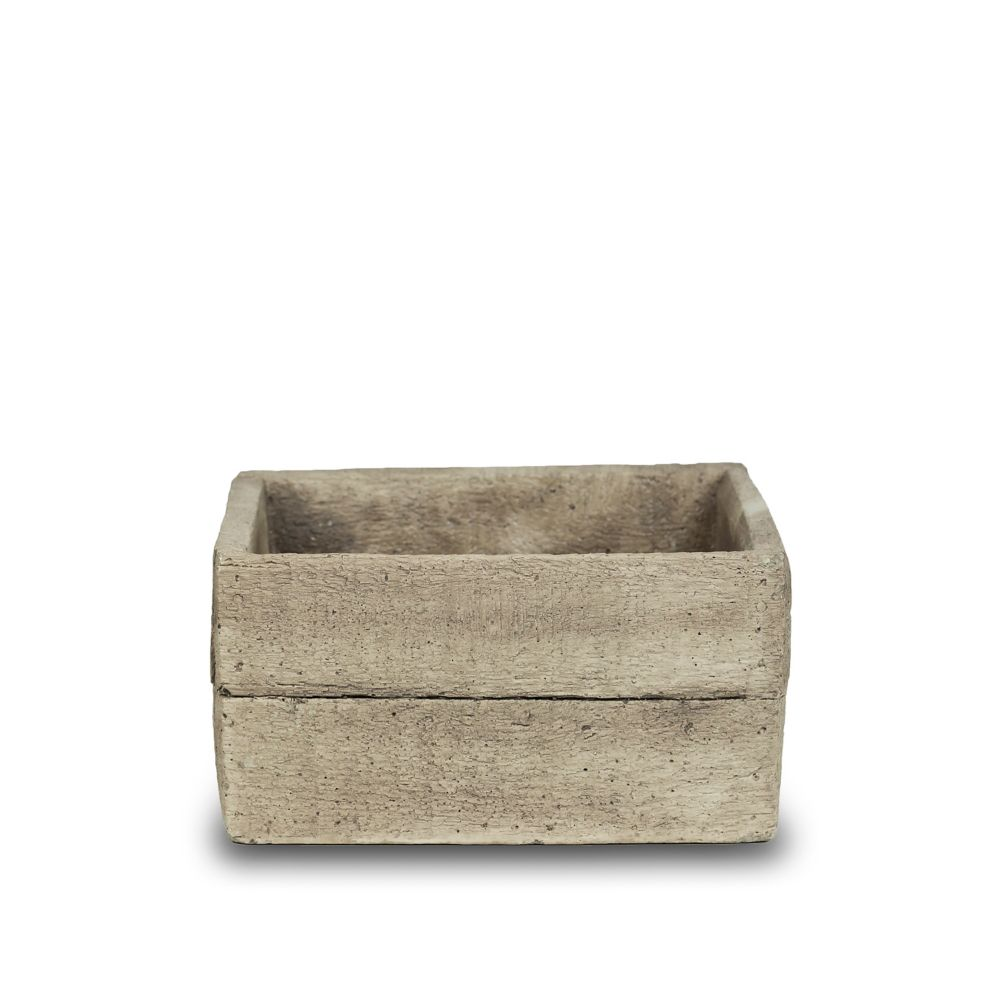7 Inch Faux Wood Low Square, Cement