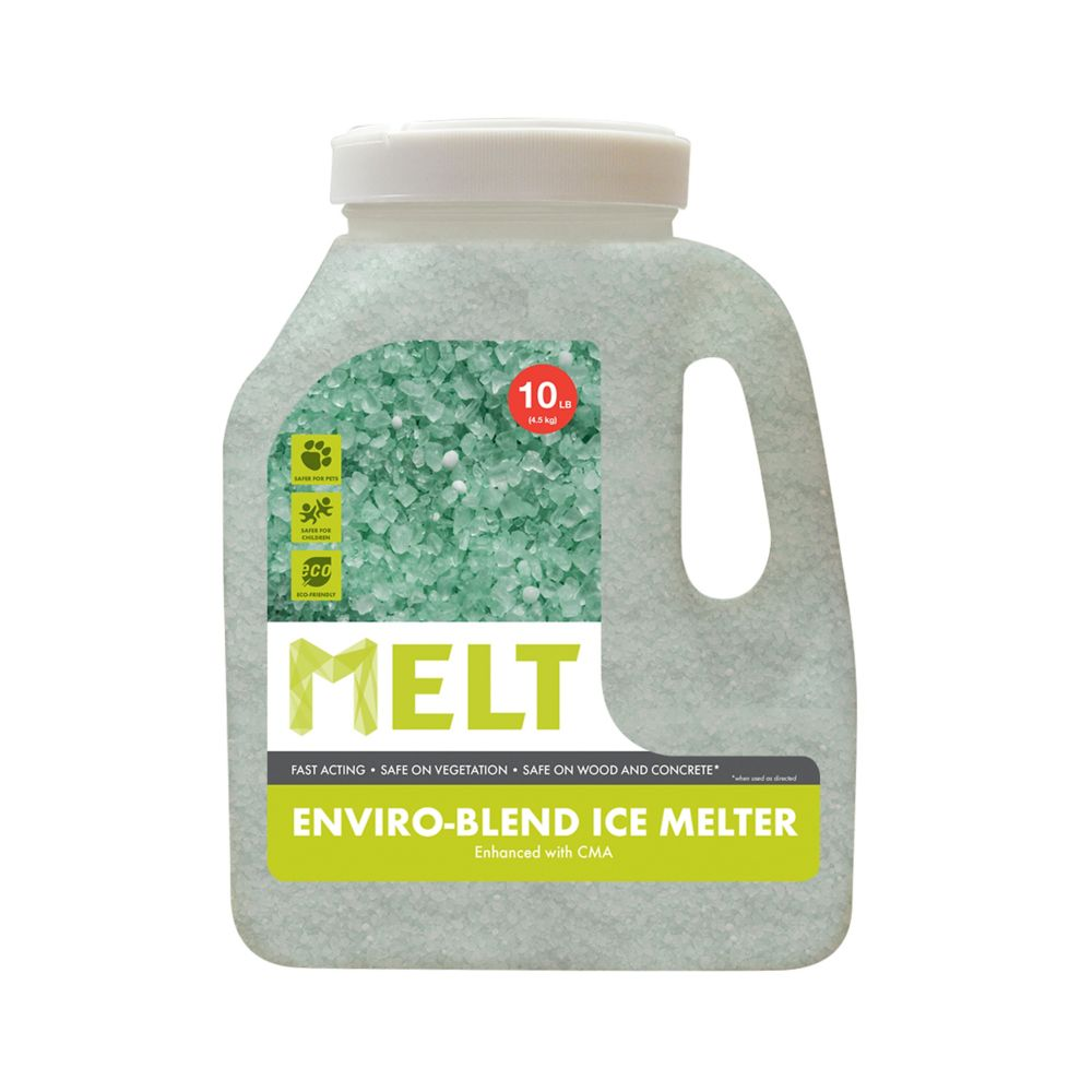 MELT 10 lb Produit de déglaçage de qualité supérieure et à formule écologique, en bidon, avec acé...