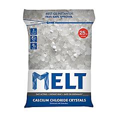 MELT 25 lb Produit de déglaçage à cristaux de chlorure de calcium en sac réutilisable