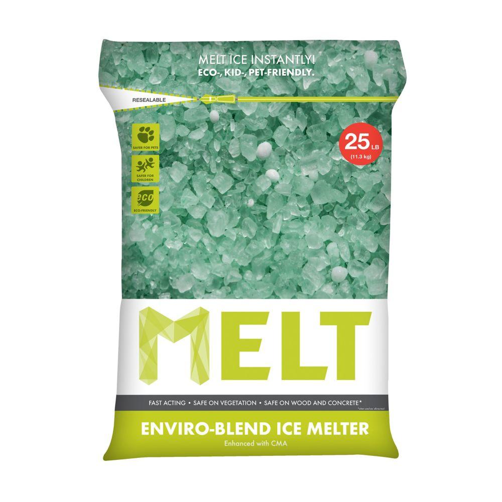 MELT 25 Lb  Resealable Bag Premium Enviro-Blend Ice Melter W/ CMA