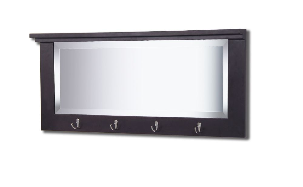 13.5 Inch  X 32.5 Inch  Entryway Mirror With Hooks