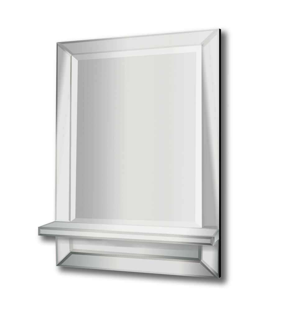24 Inch  X 36 Inch  Mirror On Mirror With Shelf