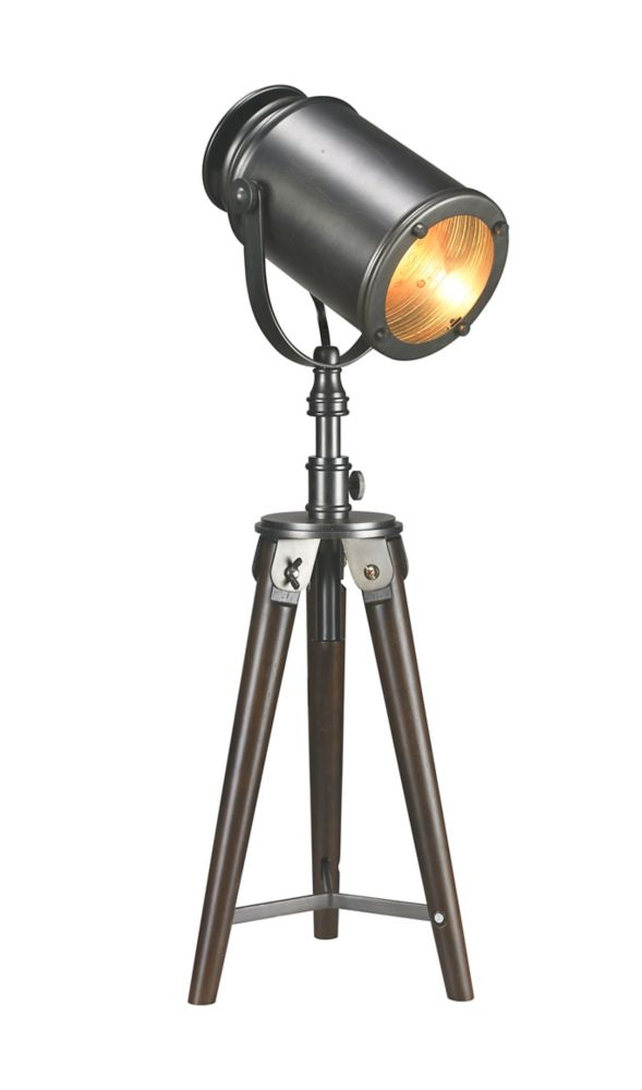 26 Inch Tripod Searchlight Wooden Table Lamp