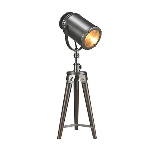 L2 Lighting 26 Inch Tripod Searchlight Wooden Table Lamp