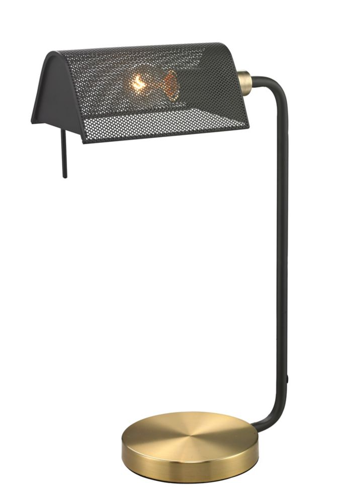 Hampton Bay 13 8 Inches Brass Bankers Lamp W 2 Outlets