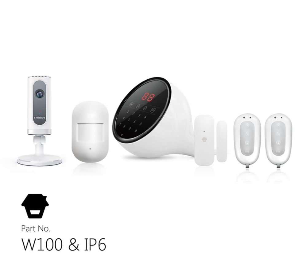 Wi-Fi/PSTN Alarm System w/ HD Camera, Touch Keypad Display, Door  Window Sensors, Motion Detector