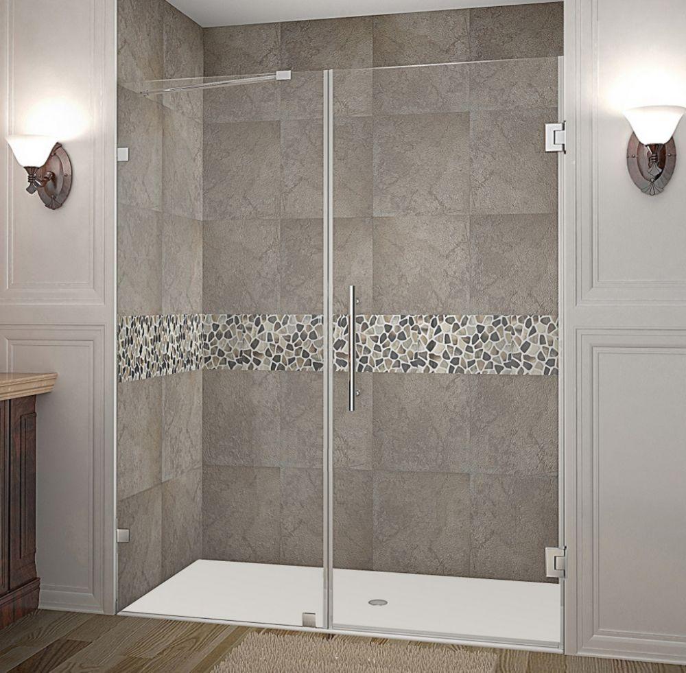 Nautis 62 Inch X 72 Inch Completely Frameless Hinged Shower Door In Chrome