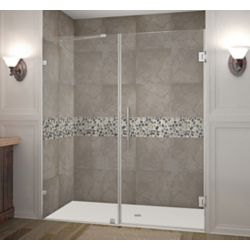 Aston Nautis 69-inch X 72-inch Completely Frameless Hinged Shower Door In Chrome