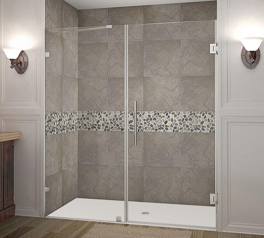 Nautis 71 Inch X 72 Inch Completely Frameless Hinged Shower Door In Chrome