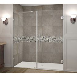 Aston Nautis 71 Inch X 72 Inch Completely Frameless Hinged Shower Door In Chrome